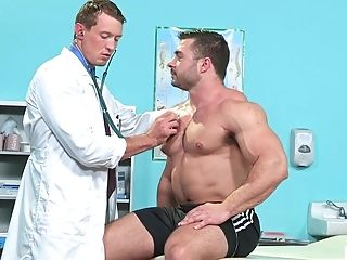 Buffed Homosexual Patient Pounded And Spunk Sprayed By His Milky Doc