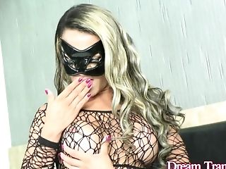 Masked Transsexual Juliana Leal Puts On A Hot Flash And Fucks Herself With High High-heeled Shoes