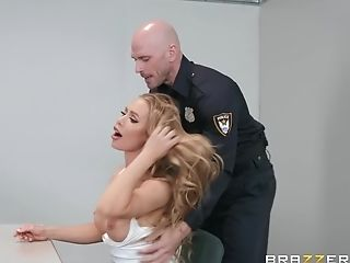 Blonde Whore Nicole Aniston Gulps A Cop's Geyser For Discipline