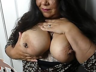 Fledgling Asian Mega-slut Mummy Shows You Her Humungous 36ddd Tits And Pierced Puffies