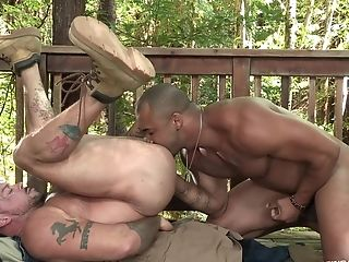 Outdoor Xxx Queer Cocksucking From A Latino Stud Throating A Black Penis