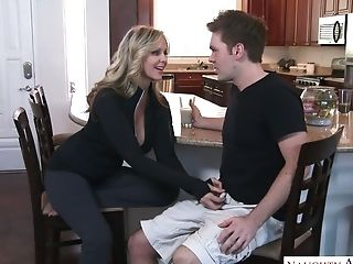 Captivating Mummy Julia Ann Entices Her Her Stepson And Likes Wallowing His Pink Cigar