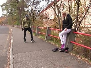 Blonde Honey Sindy Rako Picked Up On The Street And Arched Over To Fuck