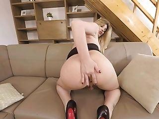 Smallish Tits Blonde Transsexual Mummy Masturbating And Anal Stimulation