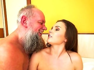 Grandfather Is Fucking A Hot Little Trampy Teenage On The Sofa Today