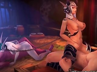 Ultra-kinky Big Hooters And Curvy Warcraft Whore Elfs Get Fucked By Massive Human Dicks