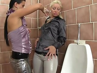Messy Wc Sapphic Activity With Pissing Nymphs Laetitia And Candy