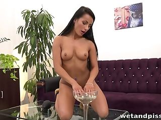 Army Chick Strips Naked And Then Pours The Contents Of Her Glass Over Herself