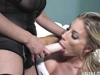 Tempting Havana Ginger Fucking Her Lezzy Hotness With A Belt Cock