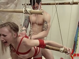 Two Non-traditional Perverts Fuck Butthole And Mouth Of Tied Up Crazy Chick