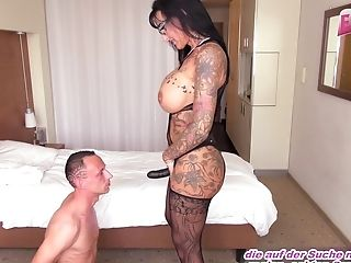 German Big Tits Female Domination Mummy Fucks Boy With Belt Cock