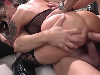 Gangfucked Chick Malena Takes Two Stiffys Up All Her Slots