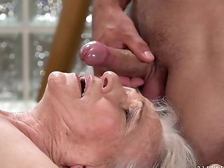 Horny Granny Norma Gets Her Hairy Puss Banged By A Perverted Man