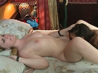 Huge-chested Cougar Sits On Top For The Girl-on-girl Have Fun Of Her Life