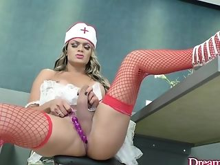 Tgirl Juliana Leal Plays With Ass-fuck Beads