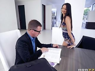 Super-naughty Nubile Eliza Ibarra Tempts A Customer And Rails Him At The Office
