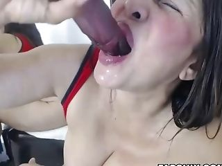Delicious Black-haired Matures Suck Faux-cock On Webcam