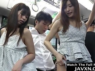 Hotness Japanese Stunners On The Bus - Asian