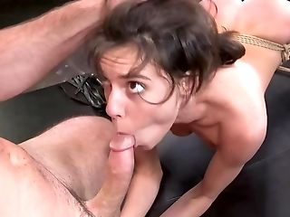 Tied Up Youthfull Dark Haired Actively Drilled By Impudent Master