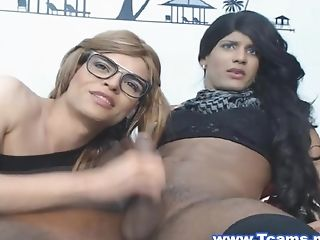 Dark-hued Crossdresser Face Fucking Nerdy Tranny
