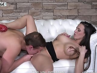 Blue Eyed Cougar Mea Melone Entices A Fellow Into Hard Fucking On The Couch