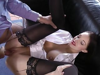 Stunning Dark-haired In Fancy Stockings Screams While Getting Screwed Xxx