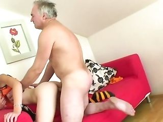 Old Man Impales Youthfull Blonde Laska B All Over Crimson Couch