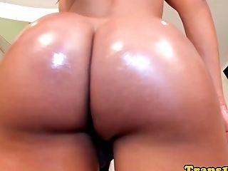 Tanlined Latina Tgirl Analfucked Up Booty
