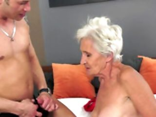 Nasty Old Woman And A Adorable Youthful One Are Fucking In The Sofa