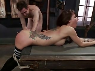 Brutal Tied Chesty Caned And Fucked