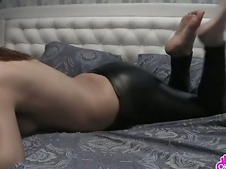 Red-haired In Leather Pants Masturbating