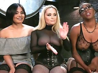 Dark-hued All Girl Lisa Tiffian Gets Her Gash Opened Up By Two Milky Chicks