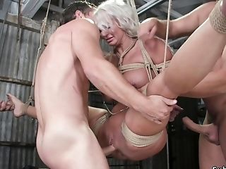Ginormous Jugs Mommy Dual Fucking Pounded In Suspension