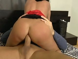 Fairly Huge-chested Whore In Crimson Corset Mia Jordan Gets Her Rosy Pucker Drilled Well