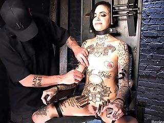 Tattooed Female Leigh Raven Got Tied Up And Disciplined With Playthings