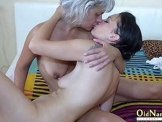Older Grandmother And Nubile Hotie Degustating Each Other Vags