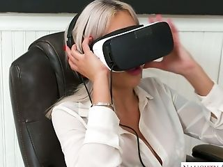 Severe Curvy Blonde Tutor Provides Vid Gamer With A Tugjob A Bit