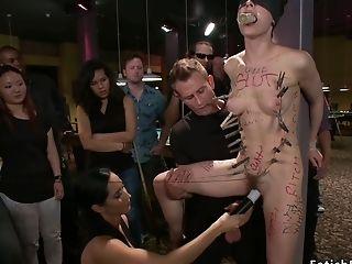 Dark Haired Lady Bitch Fucks In Pool Hall Restraint Bondage