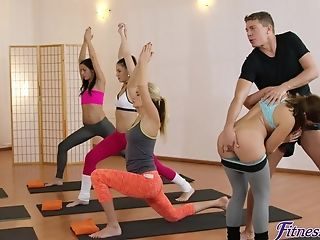 Horny Yoga Coach Fucked Amy Crimson & Yenna Black In The Gym