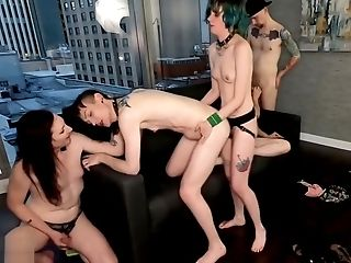 Queer Pdx Orgy With Grace West, Kai Bailey, Lilly Demona, Pegging, Fucking