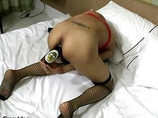 Heavenly Shemale In Fishnet Inserting A Bottle In Her Buttfuck