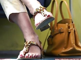 Candid Matere Feet High High-heeled Shoes Sandals And Plane Footwear
