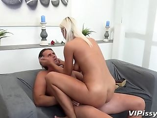 Wild Woman Pisses On Her Man And Rails His Penis