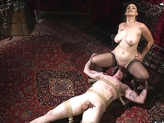 Buxom Cockslut Rectal Fucks Boy Toy Female Dominance