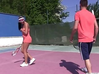 Hard-core 4some Fucking On The Tennis Court With Two Hoes