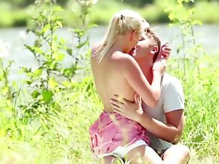 Voluptuous Blonde Fulfills All Sexual Desires By The Lake