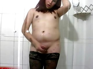 Ginger-haired Shemale Goes Totally Wild In Her Own Bathroom