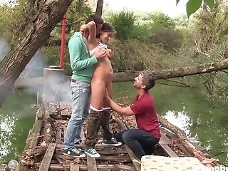 Freckled Teenager Anabelle Drinks Jizz In An Outdoor Mmf Threesome