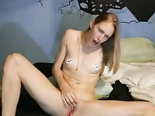 Diminutive Boobed Blonde Masturbating