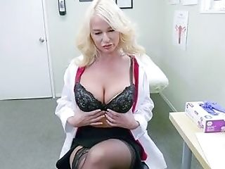 Blonde Physician Shows Off Masturbating When Alone In Her Office